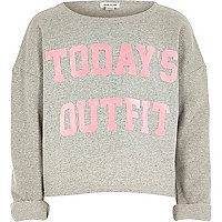 Girls grey today's outfit print sweatshirt