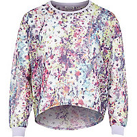 Girls pink smudge floral print sweatshirt
