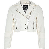 Girls cream croc pu cropped biker jacket