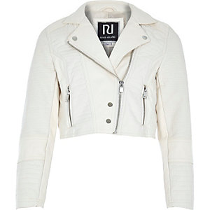 Girls cream leather-look cropped biker jacket