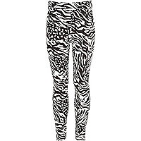 Girls black zebra legging print
