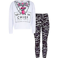 Girls grey editor chief and legging set