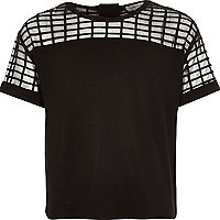 Girls black check mesh crop top