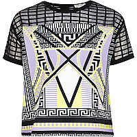 Girls black mesh check geometric print top