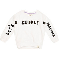 Mini girls white lets cuddle sweatshirt