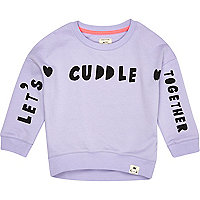Mini girls purple lets cuddle sweatshirt