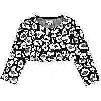 Mini girls leopard print cropped cardigan