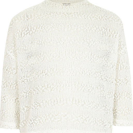 Kurzer flauschiger Pullover in Weiß für Mädchen