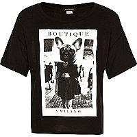 Girls black French bulldog print top