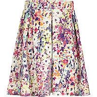 Girls pink smudge floral print skater skirt