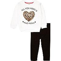 Mini girls love sweatshirt and legging outfit