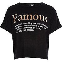 Girls black famous description t-shirt