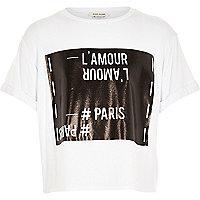 Girls white french film strip print crop top