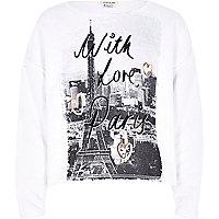 Girls cream love from paris print sweatshirt