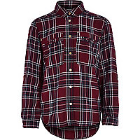 Girls dark red check shirt