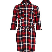 Girls red check button down shirt dress
