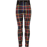 Girls red woven check trouser