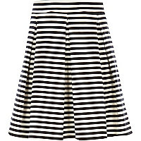 Girls cream and black stripe skater skirt