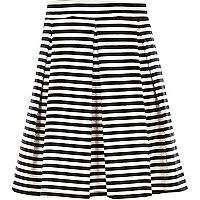 Girls cream and black stripe skater skirt