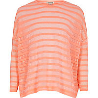Girls coral sheer stripe top
