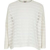 Girls white sheer stripe top
