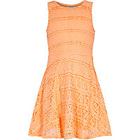 Girls orange lace skater dress