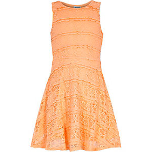 Girls orange lace skater dress