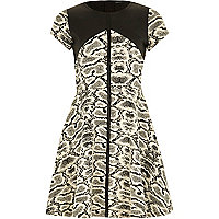 Girls black jacquard snake print skater dress