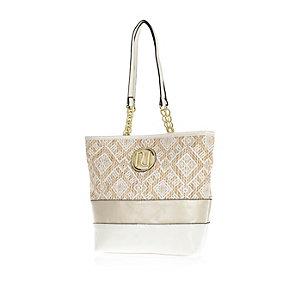Girls white straw shopper bag