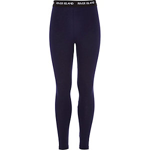 Girls navy RI waistband leggings