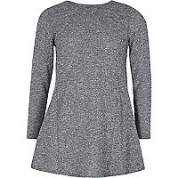 Girls grey flecked long sleeve jumper