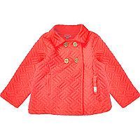 Mini girls fluro pink quilted pea coat