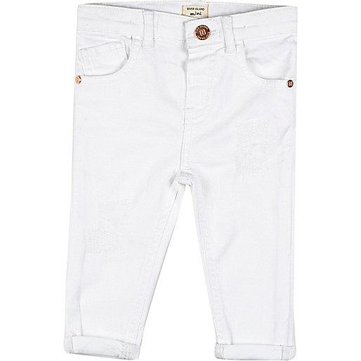 Jean skinny blanc mini fille