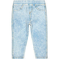 Mini girls blue ice look light denim leggings