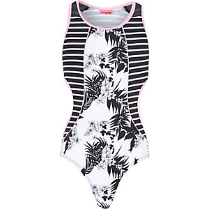 Girls white and black print cut out swimsuit