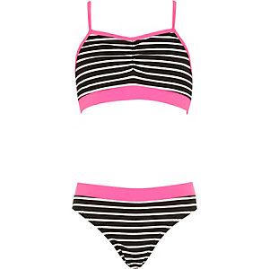 Girls black pink stripe bikini