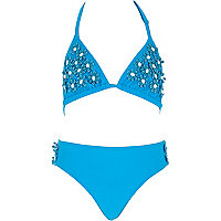 Girls blue 3D flower bikini