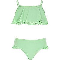 Girls lime laser cut frill bikini