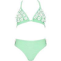 Girls mint green 3d daisy bikini