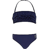 Girls navy laser cut frill embellished bikini
