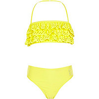 Girls yellow lazer cut out bandeau bikini