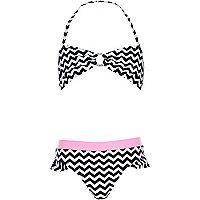Girls black and white stripe bikini