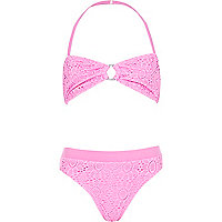 Girls pink crochet ring bandeau bikini