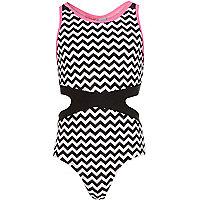 Girls black zig zag cut out swimsuit