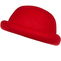 Girls bright red bowler hat