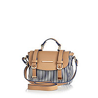 Girls blue stripe satchel bag