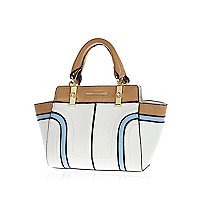 Girls white colour block winged tote bag