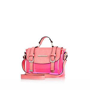 Girls pink jelly satchel bag
