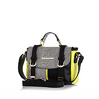 Girls black and white colour block satchel