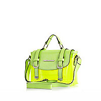 Girls lime green jelly satchel bag